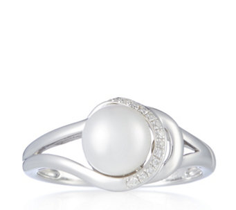 Honora Pearls 7.5mm Cultured Button Pearl Diamond Ring Sterling Silver - 307100