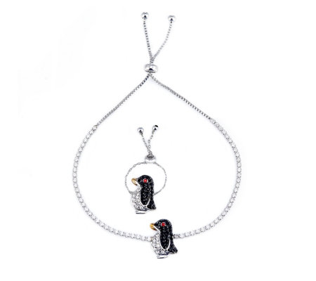 Butler & Wilson Crystal Penguin Ring & Bracelet Set