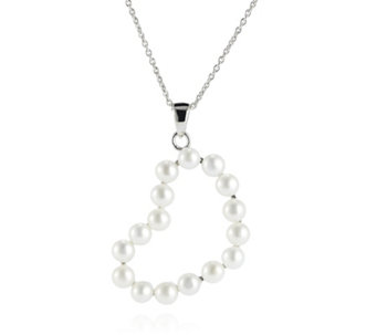 Honora 3-4mm Cultured Button Pearl Pendant & Chain Sterling Silver - 308801
