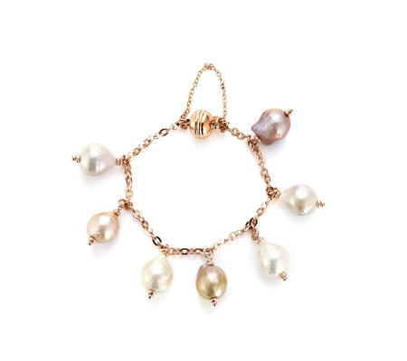 Honora 11mm Ming Pearl Magnetic Clasp Bracelet Bronze