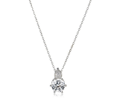 Diamonique 2ct tw Rose Cut Pendant & 45cm Chain Sterling Silver