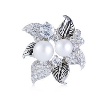 Honora 7.5-9.5mm Cultured Pearl & White Topaz Poinsettia Brooch Sterling Silver - 308003