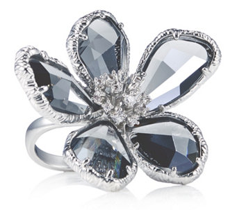 Frank Usher Glass Flower Expandable Ring - 306104