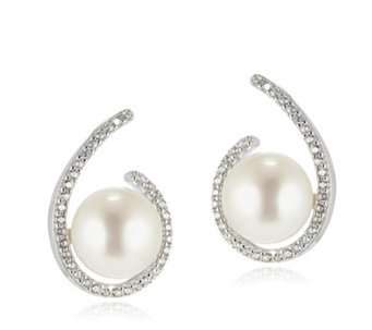 Honora 8.5-9mm Button Pearl White Topaz Stud Earrings Bronze - 308804