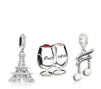 Chamilia Wine Song & Paris Set of 3 Charms Sterling Silver - 308105