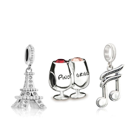 Chamilia Wine Song & Paris Set of 3 Charms Sterling Silver