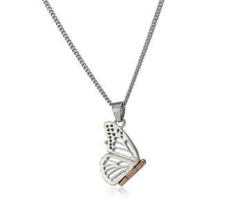 Clogau 9ct Rose Gold & Sterling Silver Butterfly Locket & 56cm Chain - 312405