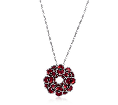 The Poppy Collection Wreath Pendant 46cm Necklace by Buckley London