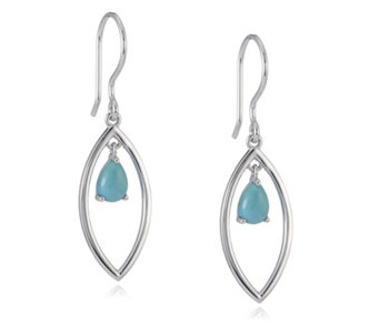 Sleeping Beauty Turquoise Teardrop Earrings Sterling Silver - 309206