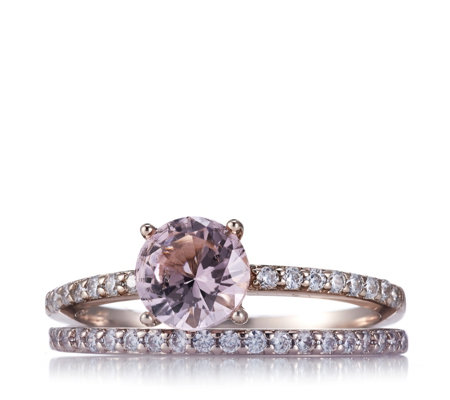 Diamonique 1.3ct tw Simulated Set of 2 Morganite Rings Sterling Silver