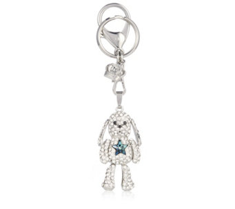 Butler & Wilson Crystal Dog with Star Keyring - 307007