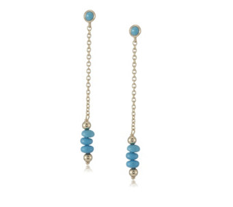 Sleeping Beauty Turquoise Drop Earrings 18ct Gold Vermeil Sterling Silver - 309207
