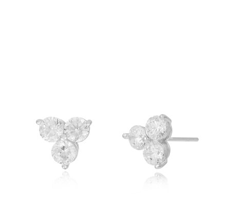 Michelle Mone for Diamonique 2ct tw 3 Stone Stud Earrings Sterling Silver