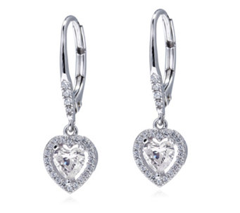 Diamonique 1.2ct tw Heart Leverback Earrings Sterling Silver - 312807