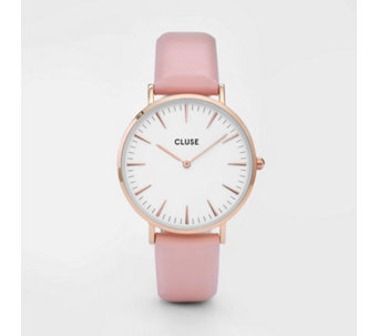 Cluse La Boheme Rose Gold Pink Leather Strap Watch - 317107