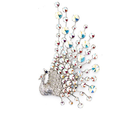 """As Is"" Butler & Wilson Couture Crystal Peacock Brooch"