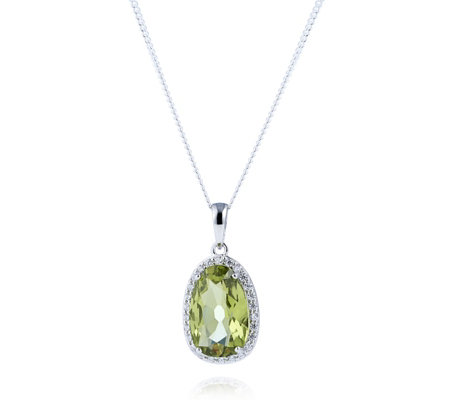 Diamonique 4ct tw Kollur Green Pendant & Chain Sterling Silver