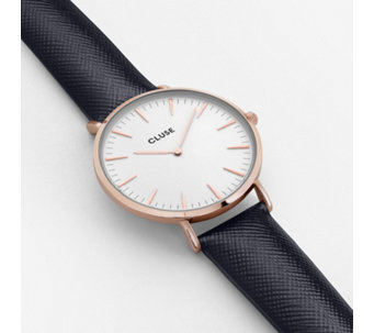 Cluse La Boheme Rose Gold Leather Strap Watch - 317108