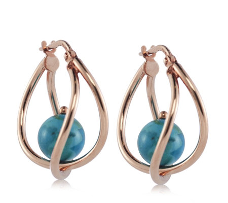 Bronzo Italia Suspended Turquoise Crossover Hoop Earrings