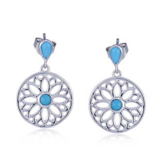 Sleeping Beauty Turquoise Floral Drop Earrings Sterling Silver - 309209