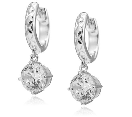 Diamonique 3ct tw Solitaire Diamond Cut Hoop Earrings Sterling Silver