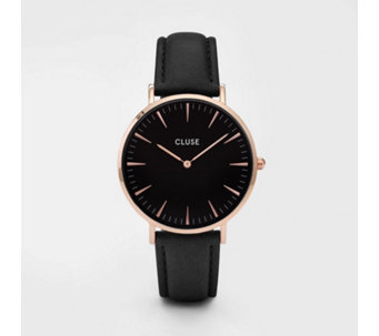 Cluse La Boheme Black Dial Leather Strap Watch - 317109