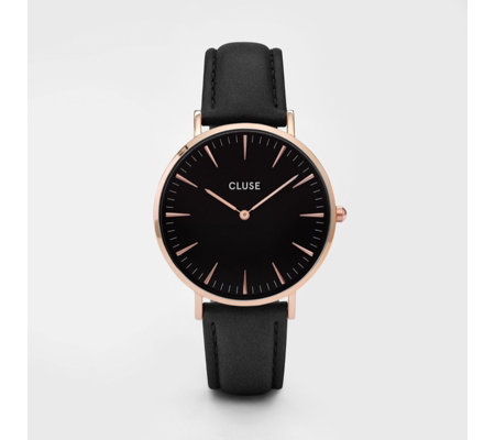 Cluse La Boheme Black Dial Leather Strap Watch