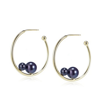Honora 4-7mm Cultured Round Pearl Hoop Earrings Sterling Silver - 307110