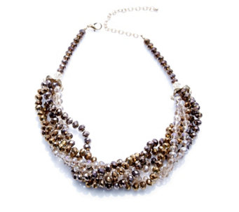 Frank Usher Multi Strand Twisted Crystal 44cm Necklace - 307510