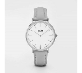 Cluse La Boheme White Dial Grey Leather Strap Watch - 317110