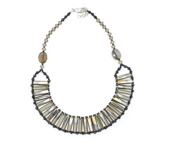 One Button Romany Glass Woven Collar Necklace - 319910