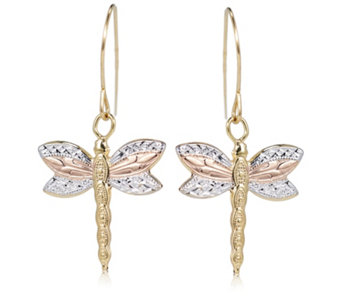 9ct Gold Dragonfly Drop Earrings - 306111