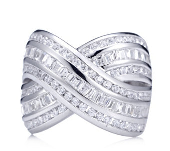 Diamonique 2.3ct tw Crossover Band Ring Sterling Silver - 309711