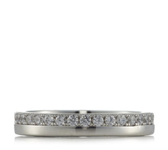 Diamonique 0.6ct tw Split Eternity Band Ring Sterling Silver - 310511