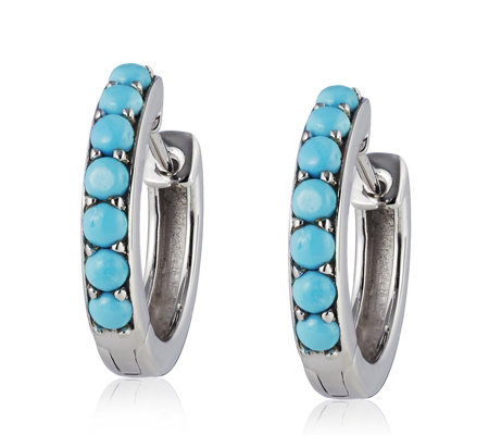 Sleeping Beauty Turquoise Huggie Earrings Sterling Silver