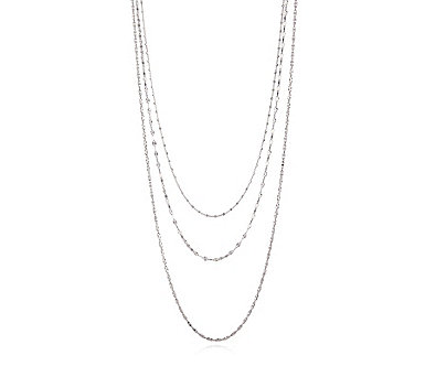 Bianca Platinum Plated Set of 3 Chains w/ Magnetic Clasp Sterling Silver - 309012