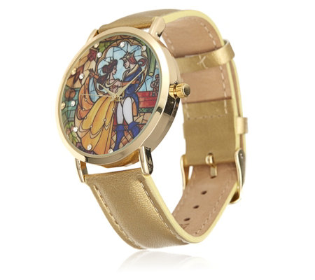 Disney Beauty and the Beast Stained Glass Leather Watch ...
