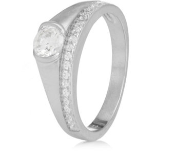 Diamonique 0.7ct tw Solitaire & Half Eternity Ring Sterling Silver - 312612