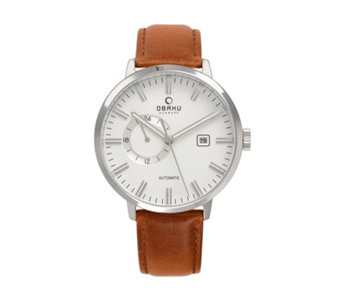 Obaku Men's Utrolig Automatic Leather Strap Watch - 316012