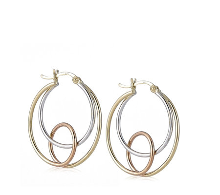 9ct Gold Tri Colour Interlinking Hoop Earrings