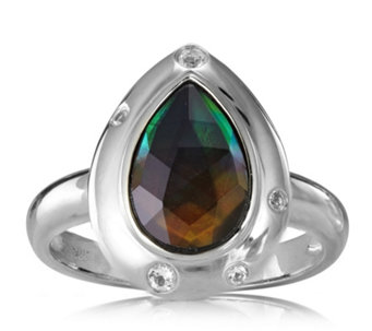 Canadian Ammolite Triplet Faceted Teardrop Ring Sterling Silver - 312413