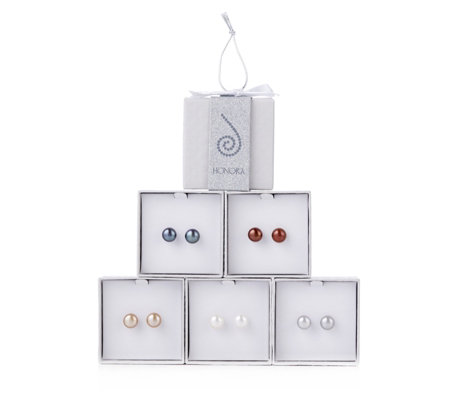 Honora 9-10mm Cultured Pearl Set of 5 Stud Earrings with Gift Box