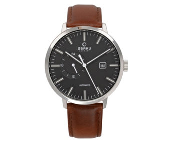Obaku Men's Utrolig Automatic Leather Strap Watch - 316013