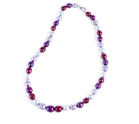Mm Graduated Ringed Barrel Freshwater Pearl Necklace By Honora
