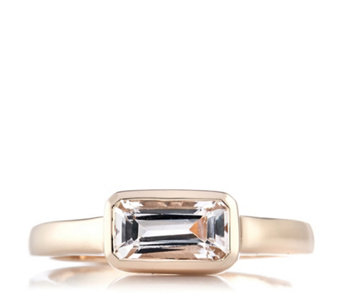 1ct Morganite Octagon Cut East West Ring Rose Gold Vermeil Sterling Silver - 308514