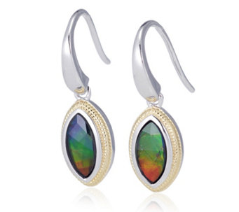 Canadian Ammolite Triplet Faceted Marquise Drop Earrings Sterling Silver - 312414