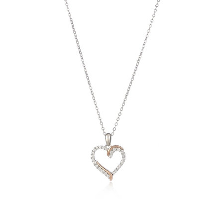 Diamonique 0.2ct tw Twist Heart Pendant & Chain Sterling Silver