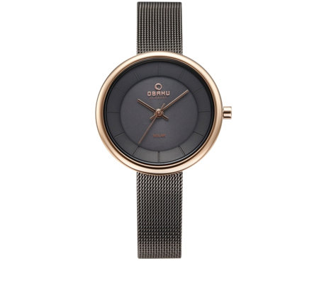 Obaku Ladies Lys Solar Mesh Strap Watch