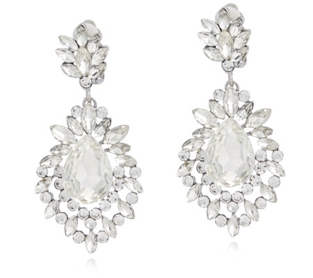Frank Usher Crystal Drop Clip On Earrings