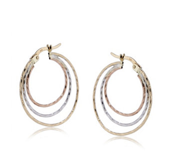 9ct Gold Tri Colour Hoop Earrings - 308916